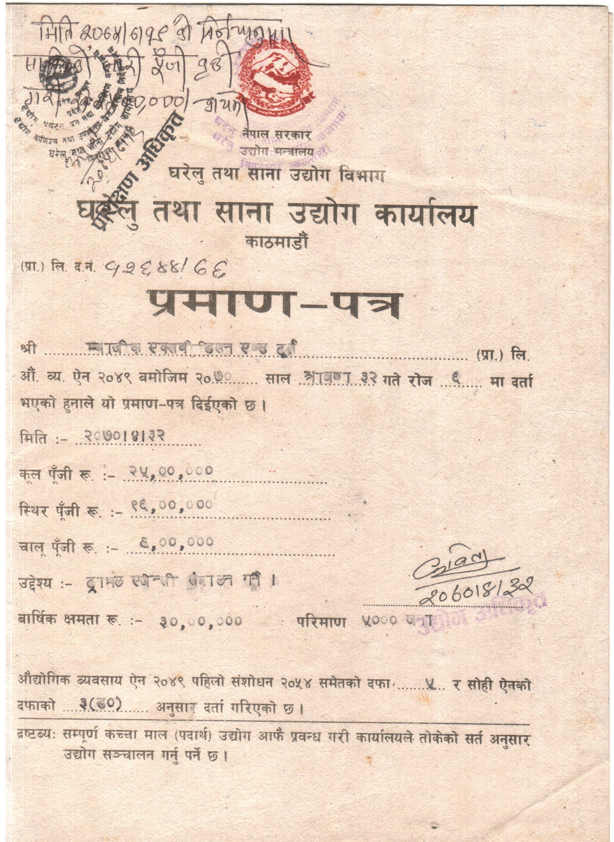 Certificate of Small Cottage and Industries